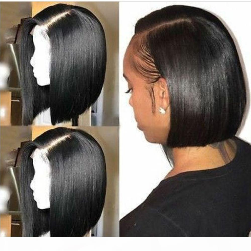 360 de encaje frontal pelucas corto Bob recto al fondo del pelo pelucas del frente del cordón del pelo humano con el bebé Parte Para Mujeres Negro