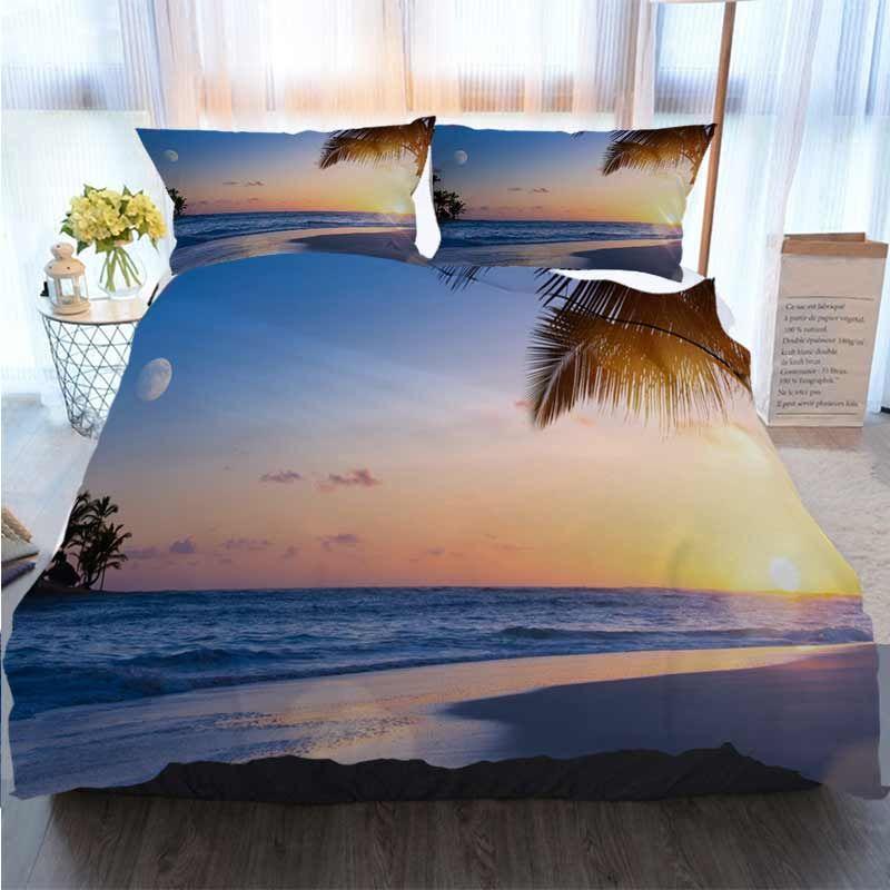 3D letti di design Imposta Drims vacanze estive d'arte; Designer bel tramonto sul spiaggia tropicale copripiumino letto insiemi trapunte