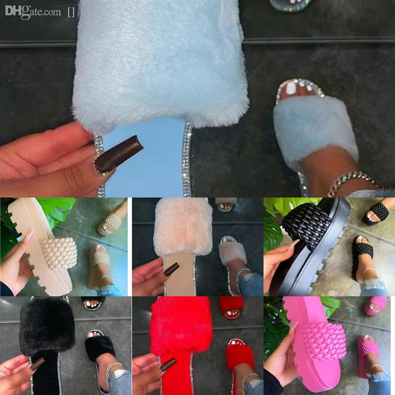 Glpak Yaz Tasarımcısı Moda Casual Kadın Terlik Bayanlar Düz Terlik Slaytlar Plaj Ayakkabı Flip-Flop Sandalet Kristal Flats Yüksek Kalite