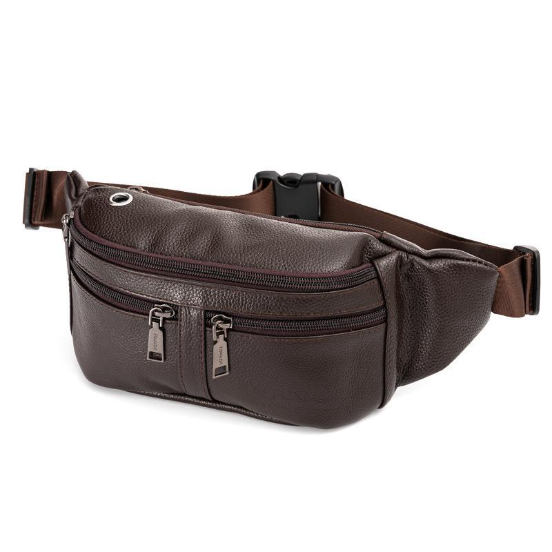 Men's Genuine Leather Waterproof Anti-theft Waist Bag Fashion Multifunctional Large-capacity Business Waist Bag Phone Pocket