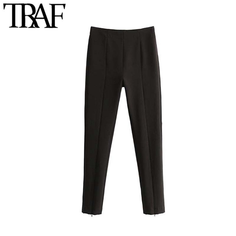 TRAF Frauen Vintage stilvolle Bürokleidung Hohe Taille dünne Hosen Mode Seite Reißverschluss Weibliche Knöchelhose Pantalones Mujer 201106