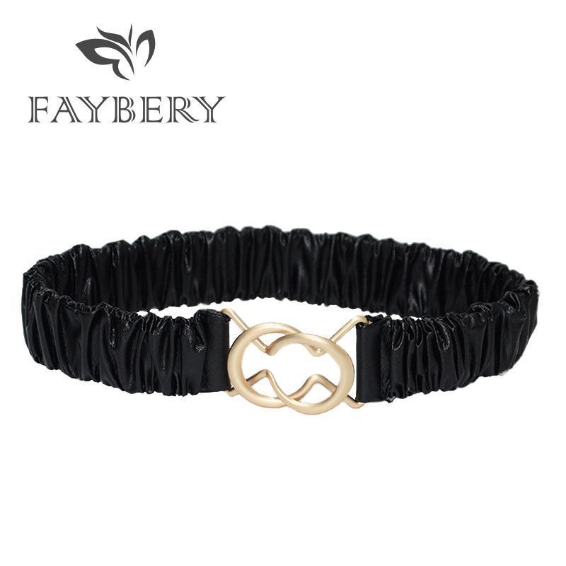 Goldene Schnalle Damen Gürtel für Frauen-Schwarz-Gurt-Leder-Qualitäts-Dame-Kleid-Gurt für Kleidung Mode Female Strap