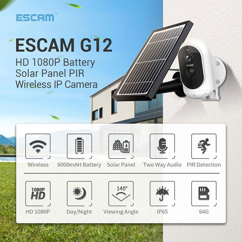 HD 1080p Outdoor Solar Panel Kamera drahtlose wiederaufladbare Batterie IP-Kamera PIR-Alarm WiFi-Sicherheitsvideoüberwachung