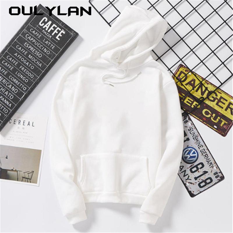 OULLAN Bayan Hoodies Sonbahar Gevşek Kazak Harajuku Hoodie Tişörtü Kazak Tops Bluz Cep Moda Giysileri T200302 ile