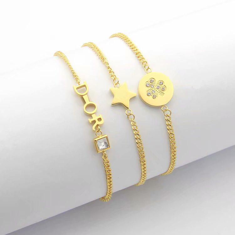 Europa américa estilo moda senhora mulheres titânio bracelete de cadeia de aço com iniciais D Iniciais Pentagram Definindo diamante pingente 3 cor