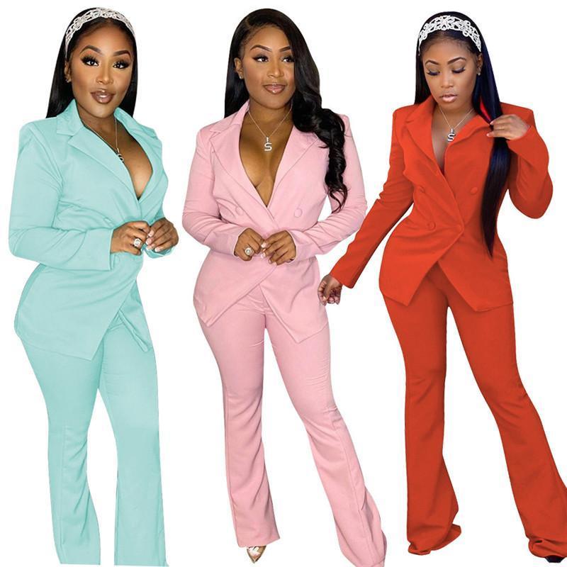 2020 mujeres otoño invierno Conjunto elegante largos pantalones largos de la manga Blazers juego de la oficina Señora de dos piezas de equipos ocasionales rojo amarillo