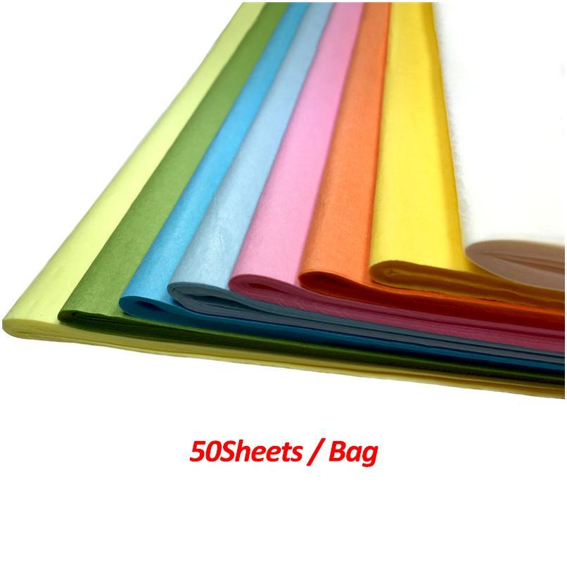 50sheets / Bag Diy Material 50*50cm Tissue Paper Floral Wrapping Paper Home Decoration Festive Party Packagi jllNYb