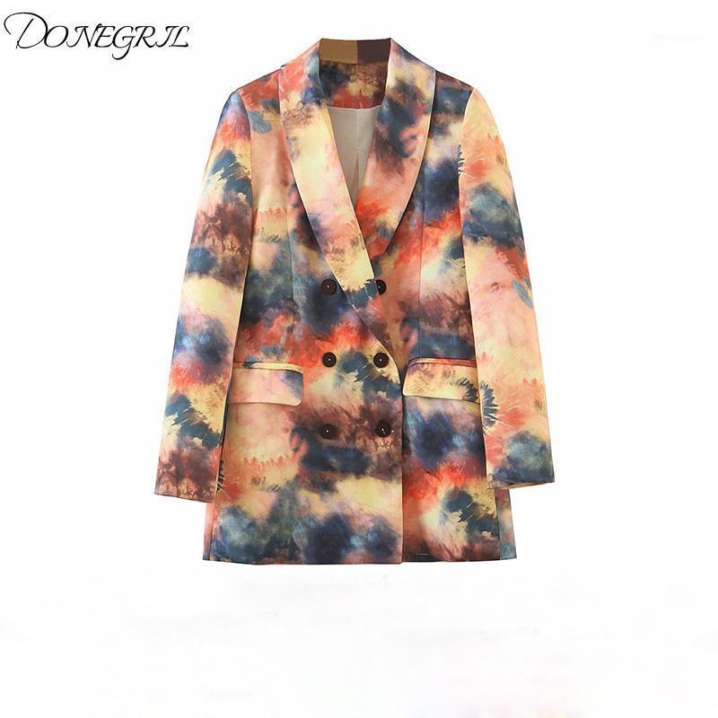 Женские костюмы Blazers Женщины Blazer с двубортным цветочным принтом с длинным рукавом Куртка 2021 Осенняя мода синий повседневный