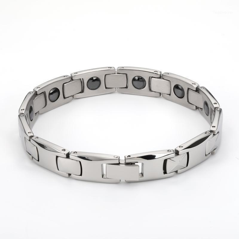 2020 moda homem pulgula pulseiras para homens bijoux titânio 316L de aço inoxidável jóias terapia magnética pulseira1