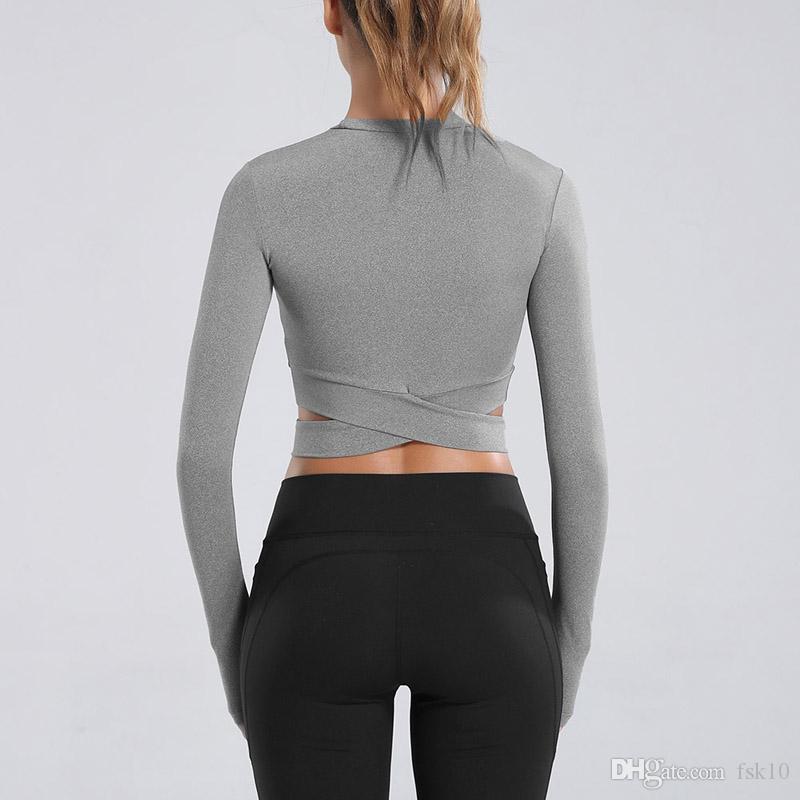 2020 Mode manches longues shirt de course Femmes Sexy Exposed Nombril Yoga T-shirt rapide Crop Gym Fitness sec Chemises athlétiques solides Chemises