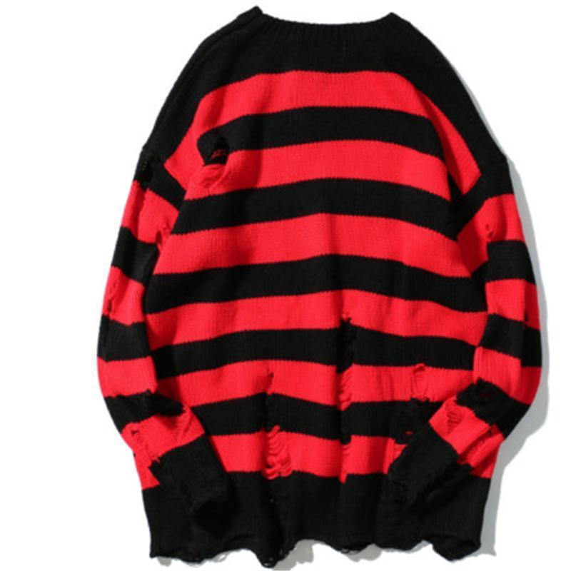 Schwarze rote gestreifte Pullover gewaschen zerstörte zerrissene Pullover Männer Hole Strick-Jumper Männer Frauen übergroßen Pullover Harajuku