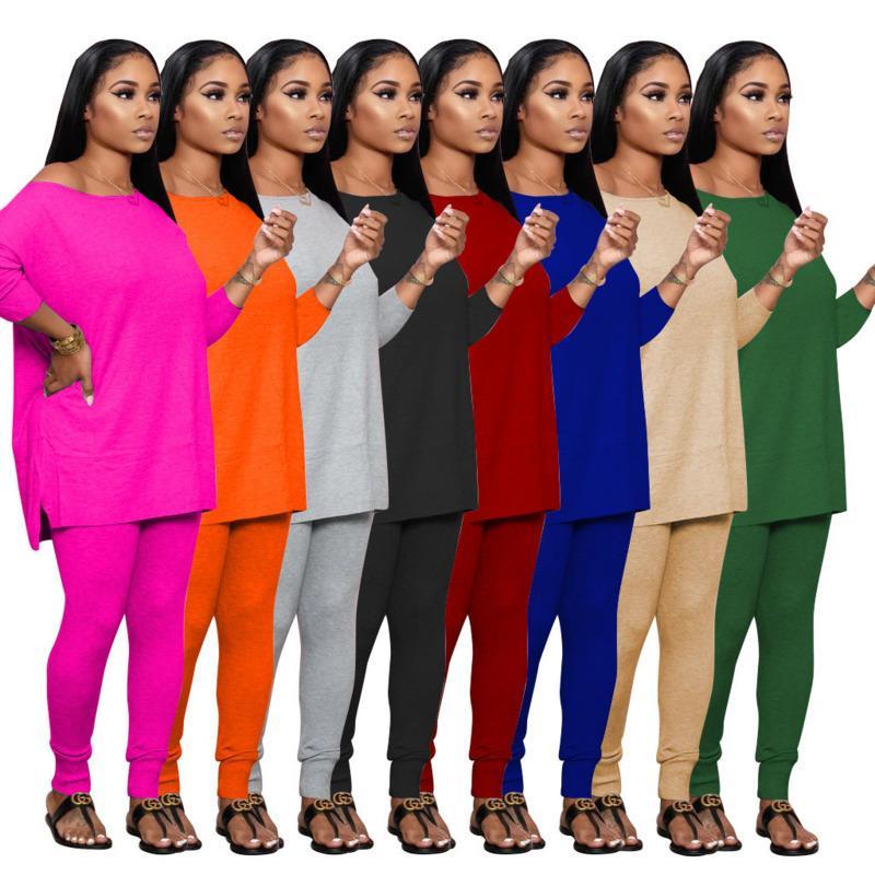 النساء رياضية قطعتين مجموعة عارضة طويلة الأكمام طماق وتتسابق بلون السيدات أزياء فضفاضة تي شيرت الركض الملابس الساخن بيع