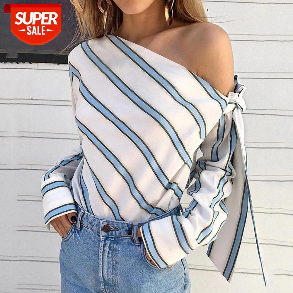 Yaz Kadın Rahat Gevşek Çizgili Bir Omuz Uzun Kollu Gömlek Bluz Tops # TV7X