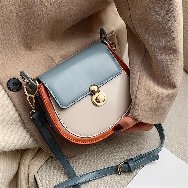 Kadınlar için PU Deri Kontrast Renk Crossbody 2020 Moda Küçük Omuz Çantası Kadın Çanta ve Çantalar Ladiestravel Çanta Q1110