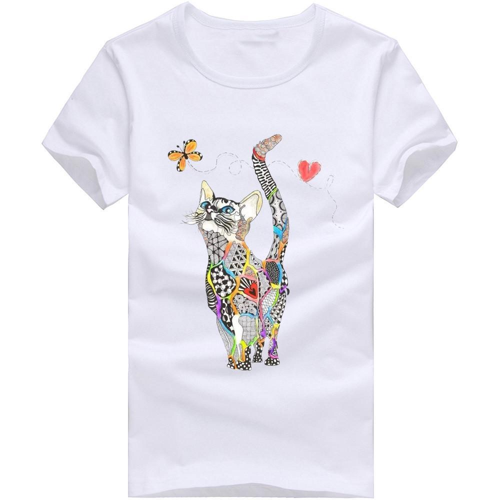 Femmes Summer manches courtes Saislu Donald Cat Imprimé T-shirts Fashion Top Top Top Tees Femmes Girls Designer Vêtements W327