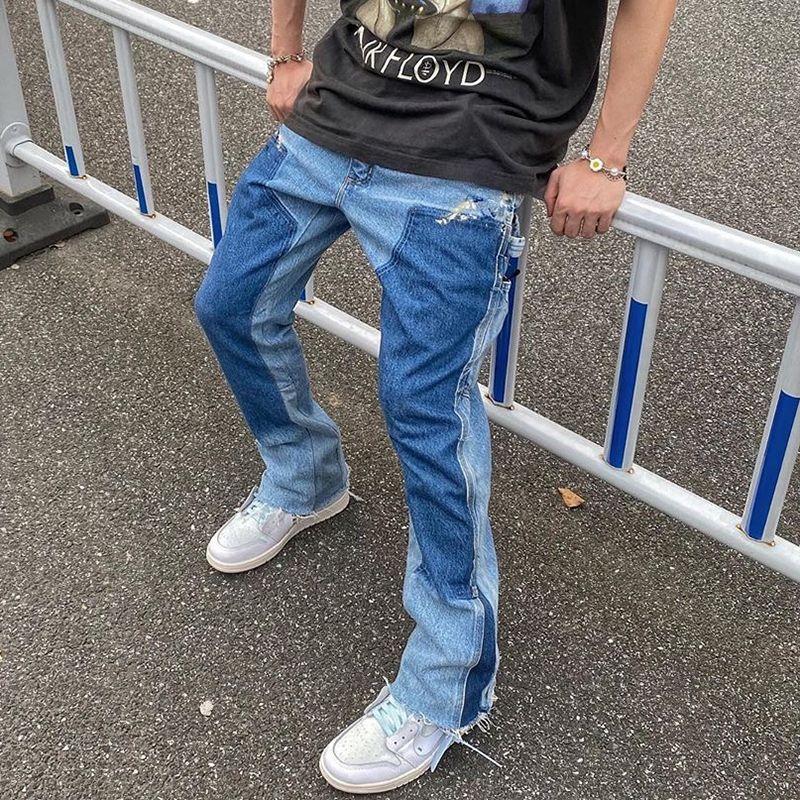 2021 Yeni Yüksek Sokak Renk Blok Eklenmiş Yıkanmış Kot Erkek Boy Geniş Bacak Düz Denim Flare Pantolon Retro Gevşek Rahat Pantolon AFTJ