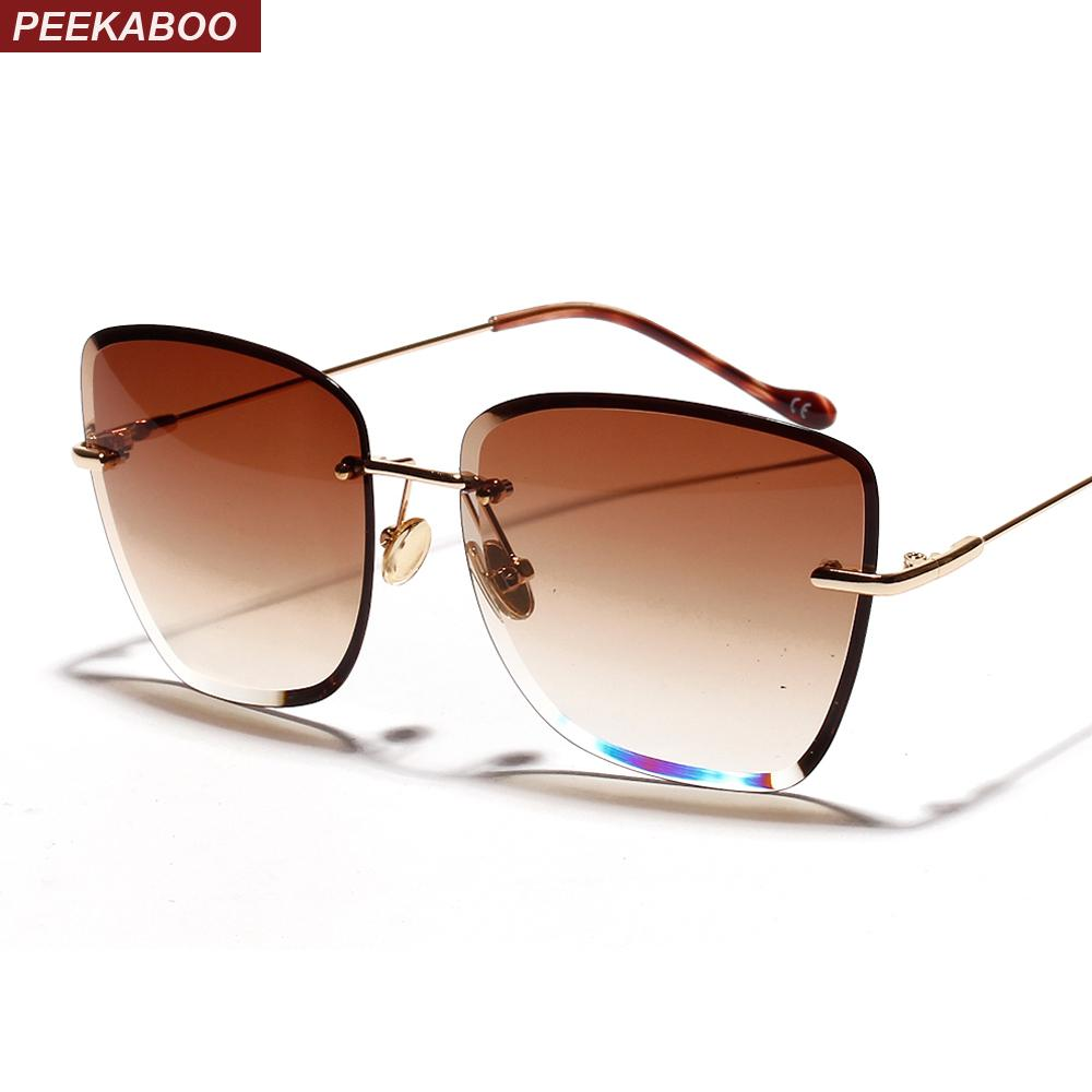 Peekaboo UV400 Occhiali da sole frameless Occhiali da sole Occhiali da donna Clear Glass Rimless per Square Sun 2019 Retro 1006 Brown Blu Gradient Donne KMaoj