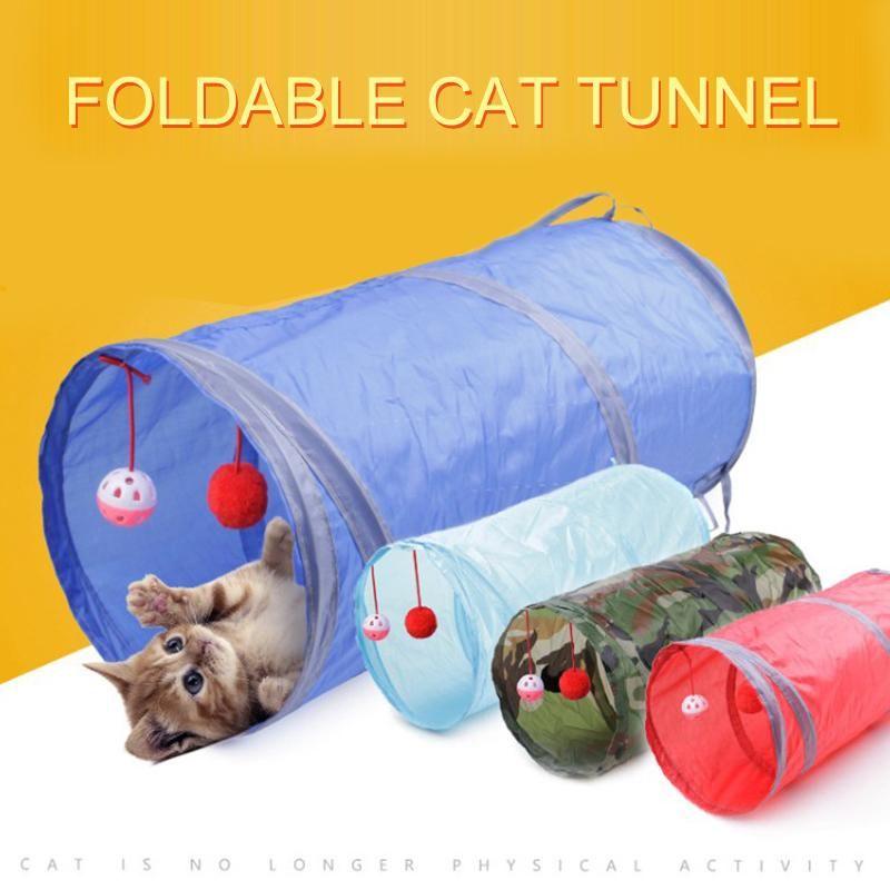 1 Pz divertente del gatto dell'animale domestico Tunnel gioco del gatto Giocattoli Tubi Palloni pieghevole piega Kitten Giocattoli Puppy Dog Tunnel Tubi Gatos Cucina Cocina