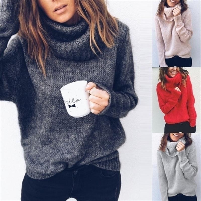 Зогаа Женщины свитер с длинным рукавом повседневная твердое цветовое водолазка свитера Свободные женщины вязаные пуловеры плюс размер свитера для свитера 201221
