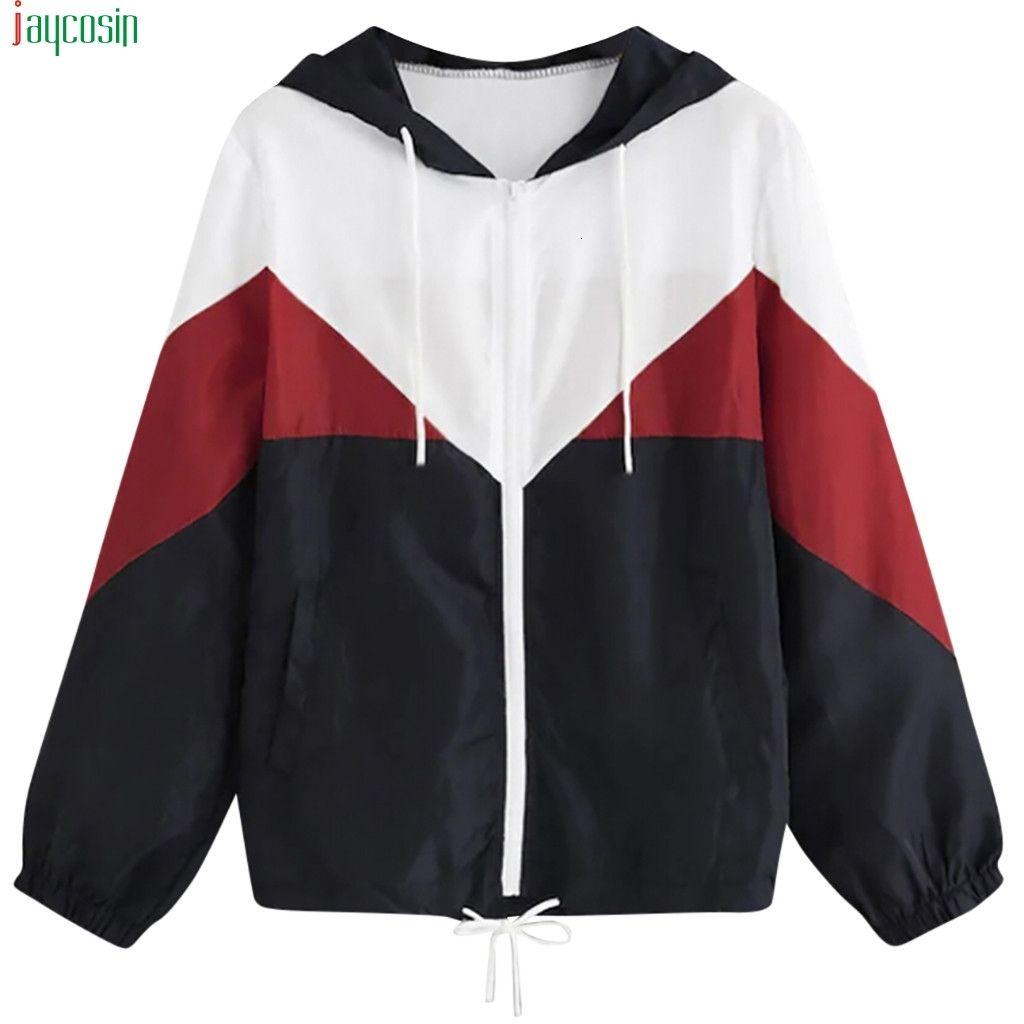 Jaycosin chaqueta básica Mujeres 2021 otoño manga larga trajes de piel delgada con capucha cerradura costuras recortadas abrigo mujer abrigo mujer casual