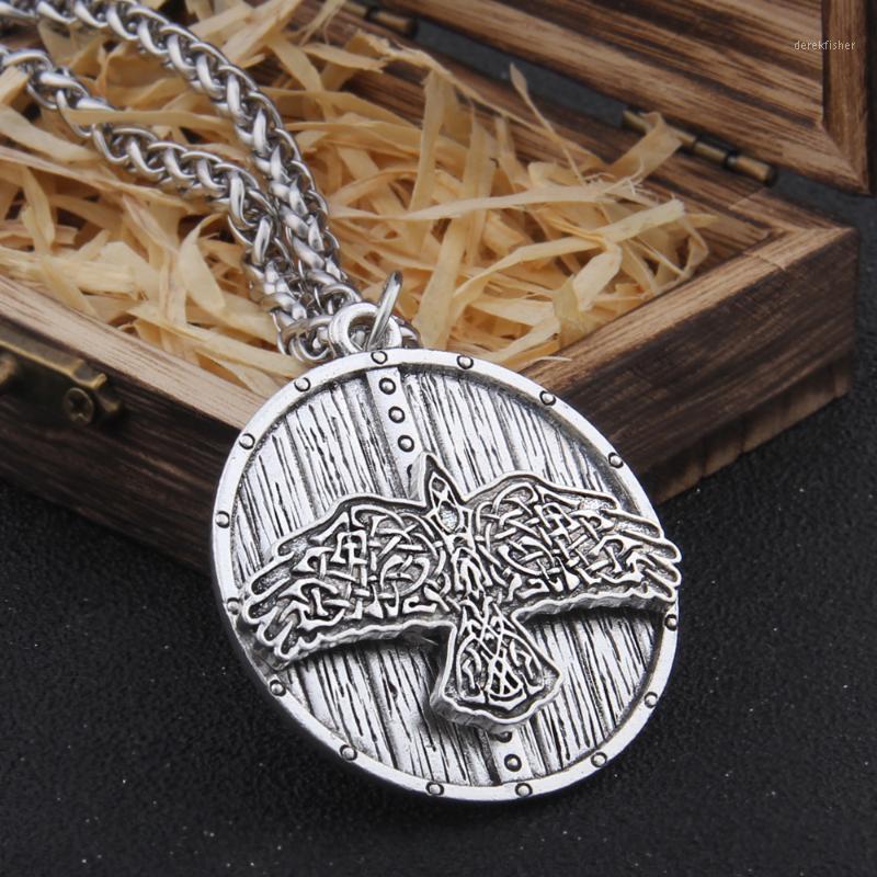 Кулон ожерелья железо цвет викингов кельтский орел и щит ожерелье с цепью из нержавеющей стали как мужчины подарочные деревянные коробка1