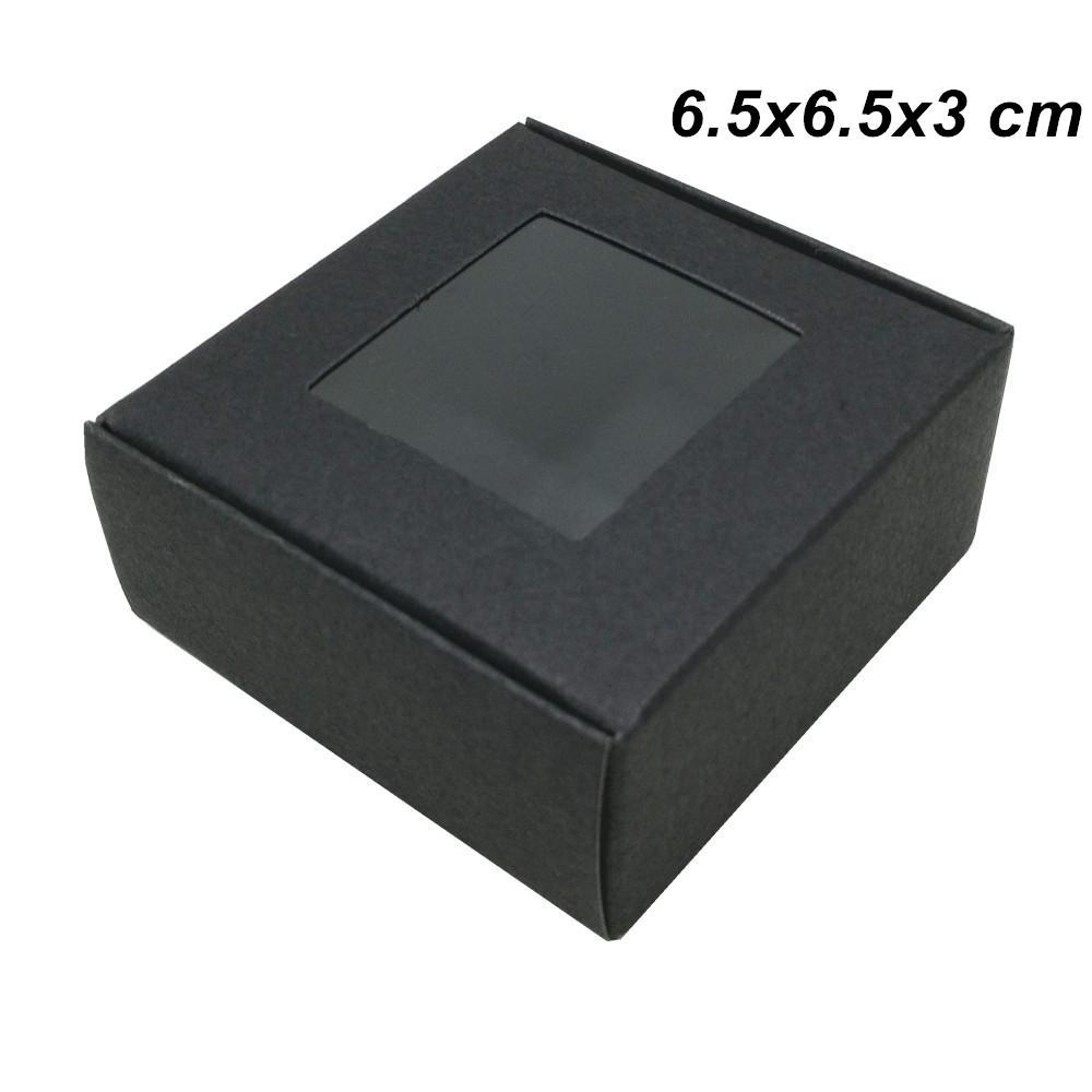 Penceresi ile Siyah 30 Adet Lot 6.5x6.5x3 cm Kraft Kağıt El yapımı DIY Kutular Hediyelik için Doğum Craft Kağıt Ekmek Pastalar Kurabiyeler Çikolata Kutuları