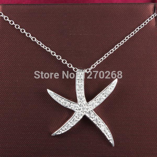P030 joyería de moda collar de plata con la estrella de mar de circón calidad linda de Navidad de regalo Top