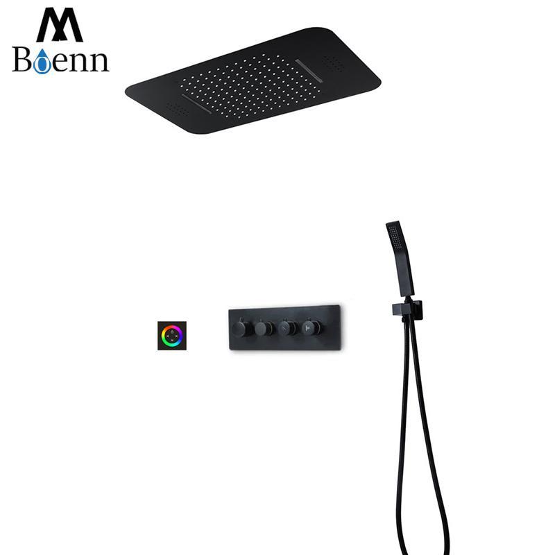 M Boenn Music Shower Systems 레인 샤워 헤드 LED 샤워 세트 욕실 수도꼭지 온도 조절 믹서 매트 블랙 / 크롬 샤워 패널