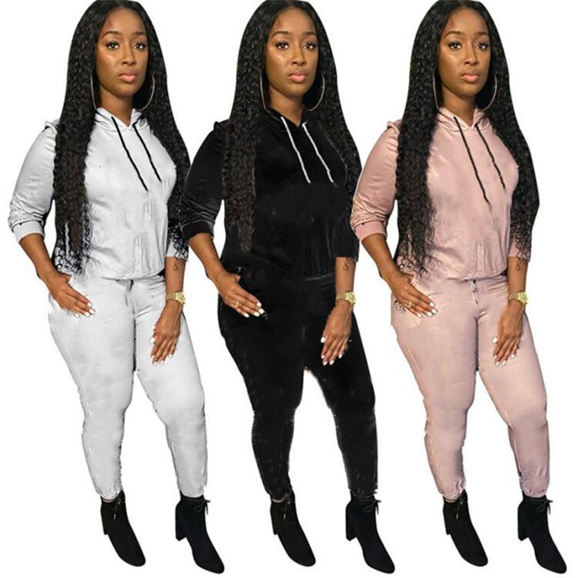 Outono inverno mulheres jasgador terno roupas manga longa roupas com capuz hoodies + calças plus size dois pedaços definir casuais print tracksuits 4092