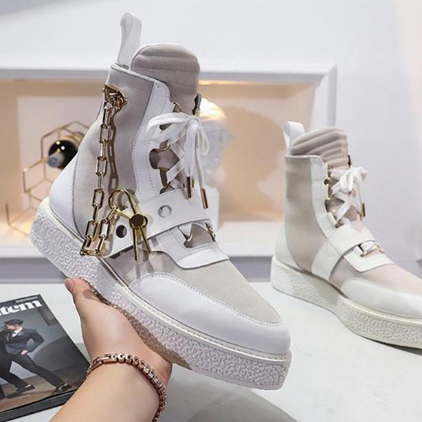 Пара обуви осенью зимние сапоги мужчин дамы мода дизайнер шелковый коровьей кожи высокие верхние плоские лодыжки сапоги высочайшего качества с коробкой