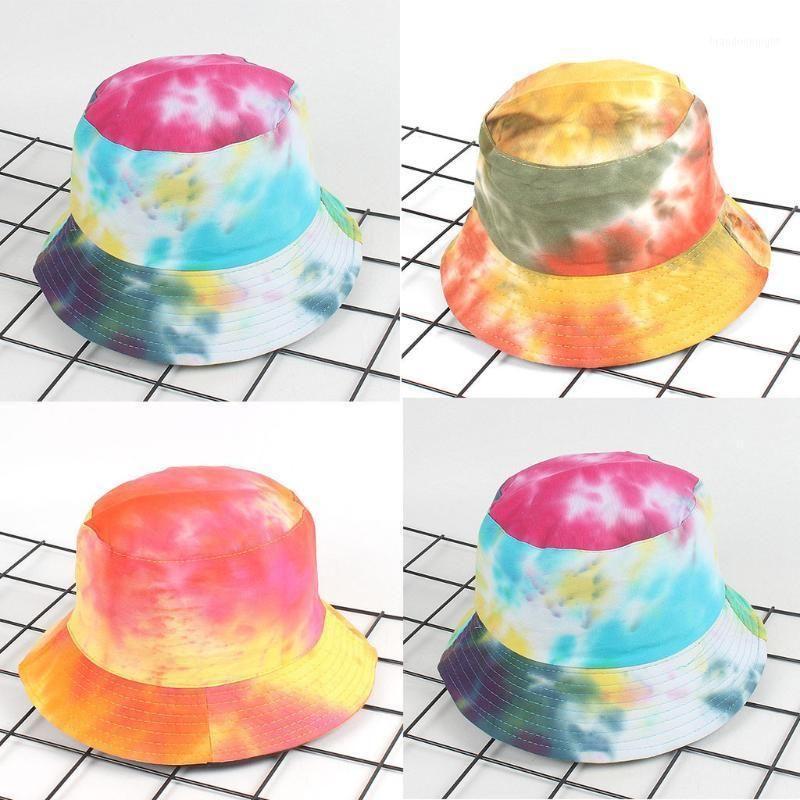 Cotton Adults Bucket Hat Cap Fishing Fisherman Beach Festival Sun Tie Dye Cap Party Headwear Bucket Hats Chapeau Casquette