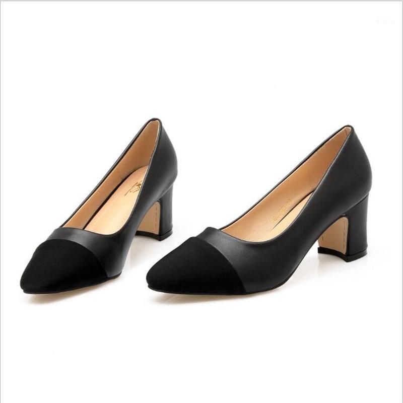 2021 мода женская обувь дикий средний каблук и неглубокий рот шить белого воротника работы женской обуви1