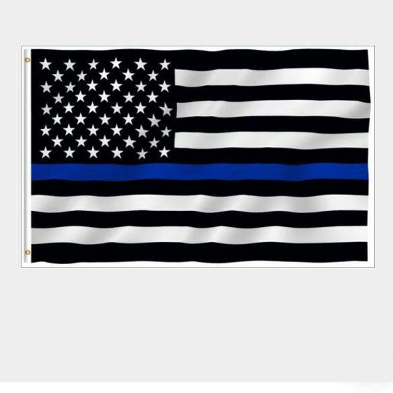 Bandeiras de polícia dos EUA 3 * 5 pés Linha azul fina EUA bandeira branca preta e azul bandeira americana com latão ilhós bandeira bandeira AAD2753