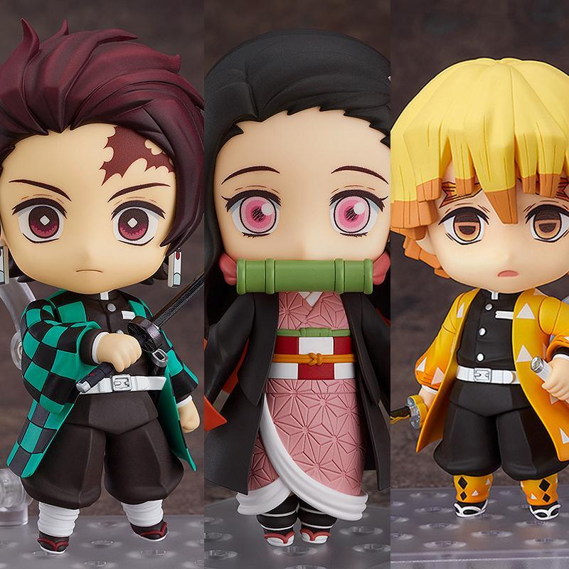 3 UNIDS / SET Q.VER KIMETSU NO YAIBA NEZUKO TANJIROU ZENITSU PVC Figura de acción 10cm Anime Demon Slayer Figurine Toys 201202
