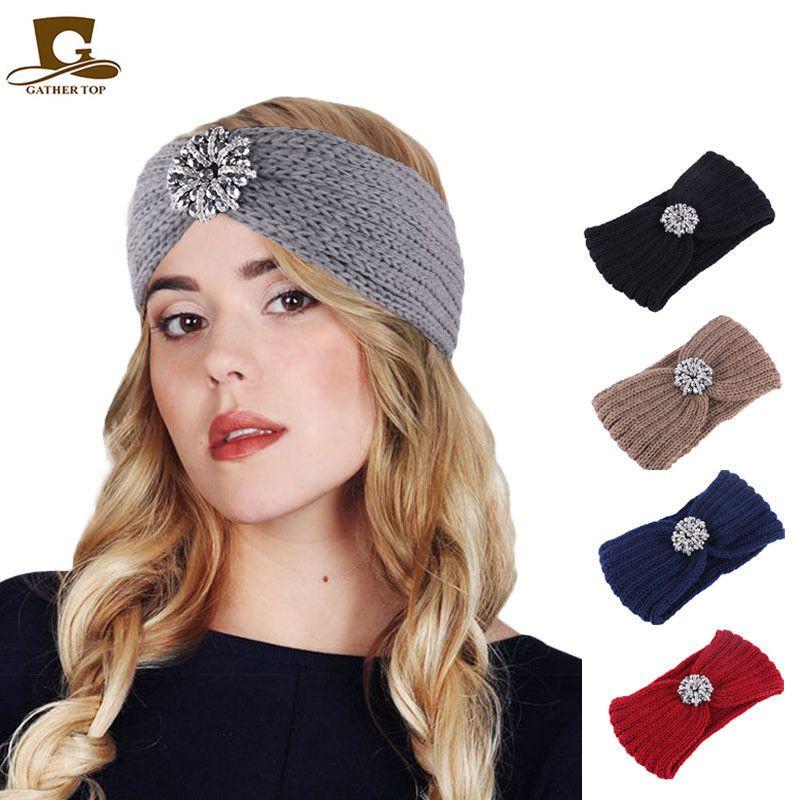 Fashion Knit Crochet Diamond Headwrap Winter Turban Women Headband Winter Ear Warmer Elastic Hair Band Hair Accessories