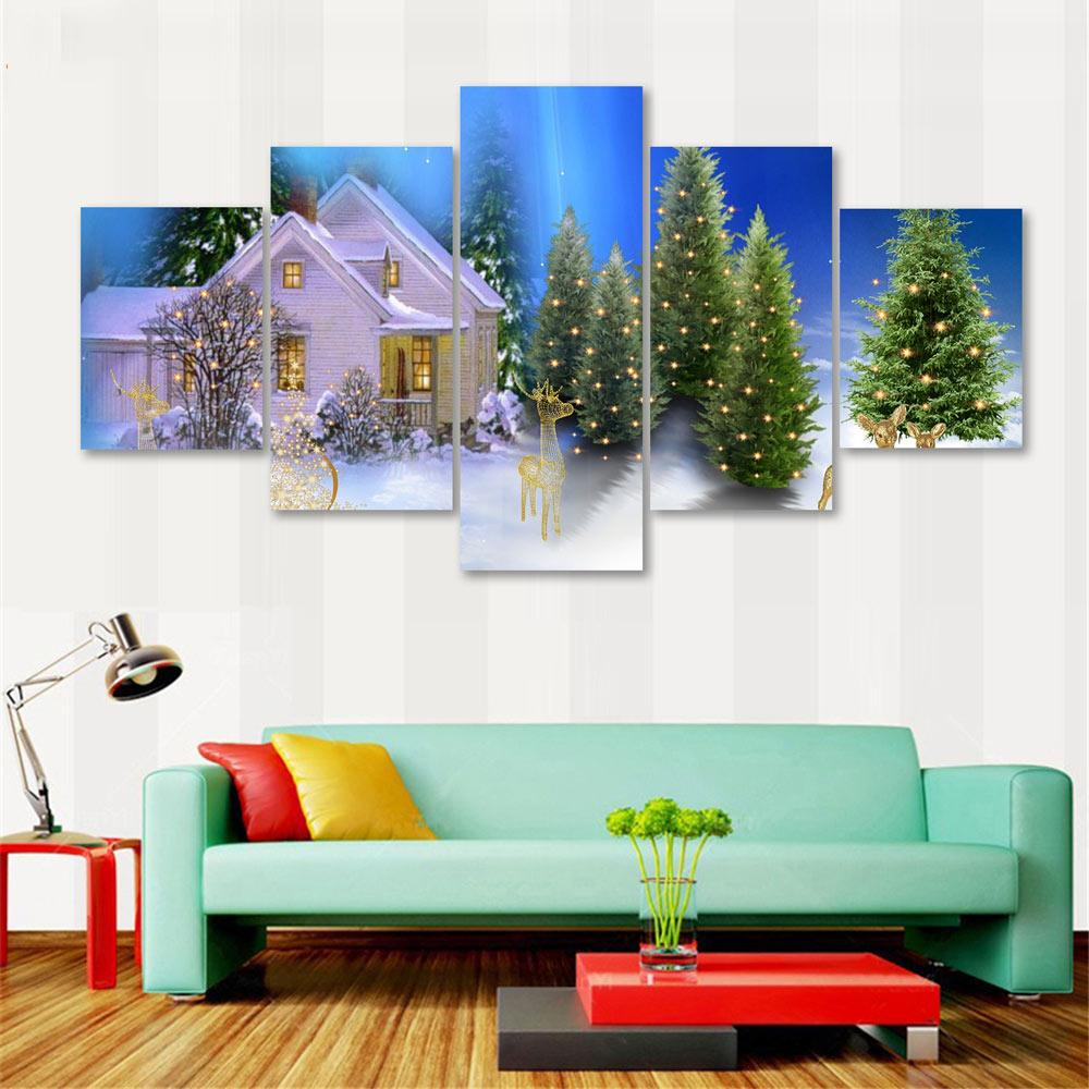 Modern Art Live Wall 5 Panel The Christmas Tree And The Snow House Photo Canvas Decor Modular Picture Poster(No Frame)