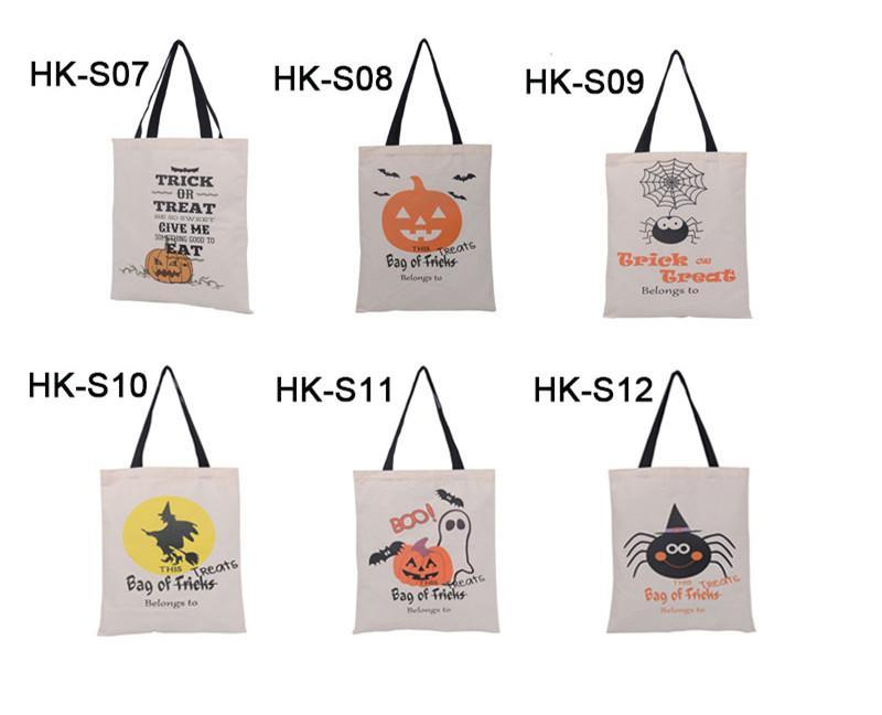 6 Styles Large Halloween Tote Bag Canvas Trick or Treat Bags Creative Halloween Spider Candy Gift Bag For Kids