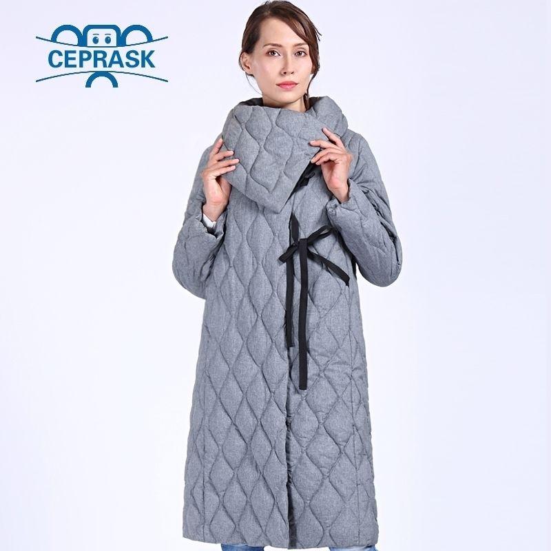 Ceprak New di alta qualità spesso parka plus size lungo giacca invernale donna BIO fluff con cappuccio caldo inverno cappotti invernali tuta sportiva 201019