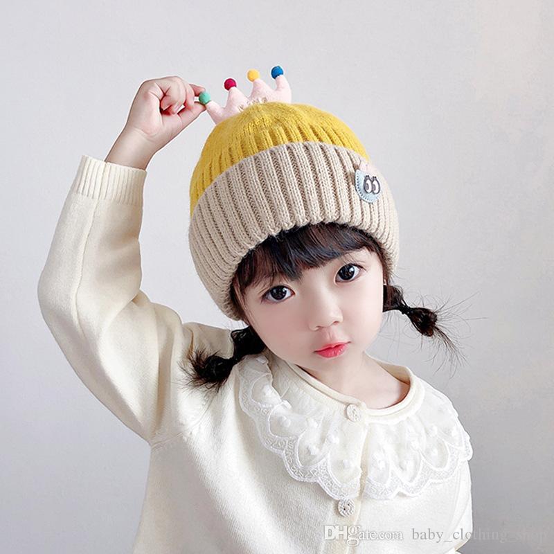 Kinder Hut Winter Koreanische Kontrast Krone Wollkappe Warm Winddicht Baby Jungen und Mädchen Gestrickte Hut Kappe Umfang 50-52cm
