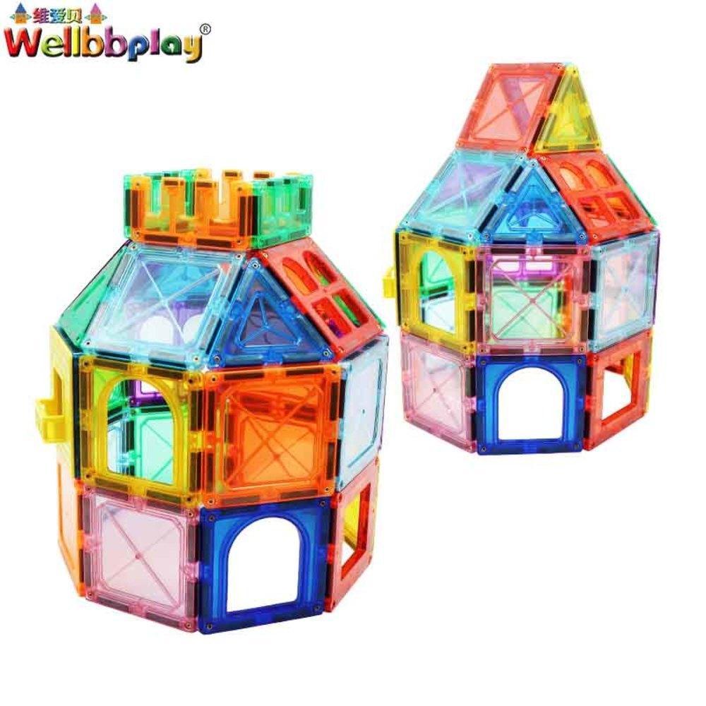 88pcs المغناطيسي كتل الأطفال مغناطيس ساحة ألعاب المبانى مصمم منشئ البلاط الطوب نموذج ألعاب تعليمية لل