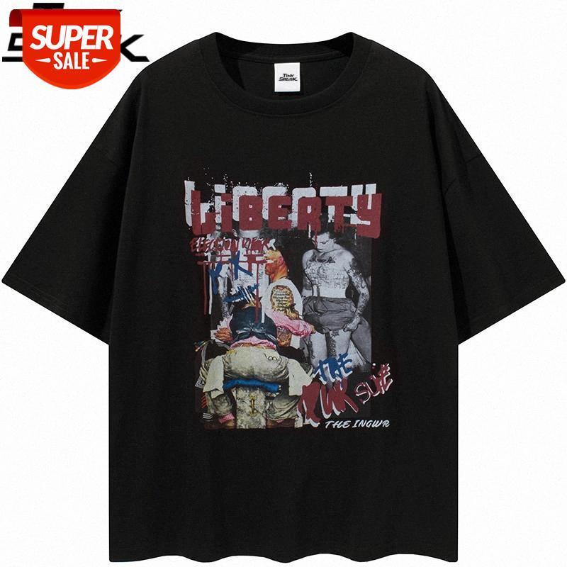 Hip Hop Streetwear T-shirt Harajuku Grafik Mektup Baskılı Tshirt 2021 Erkekler Pamuk Gevşek Kısa Kollu Tees Yaz T Gömlek # Ni3x Tops