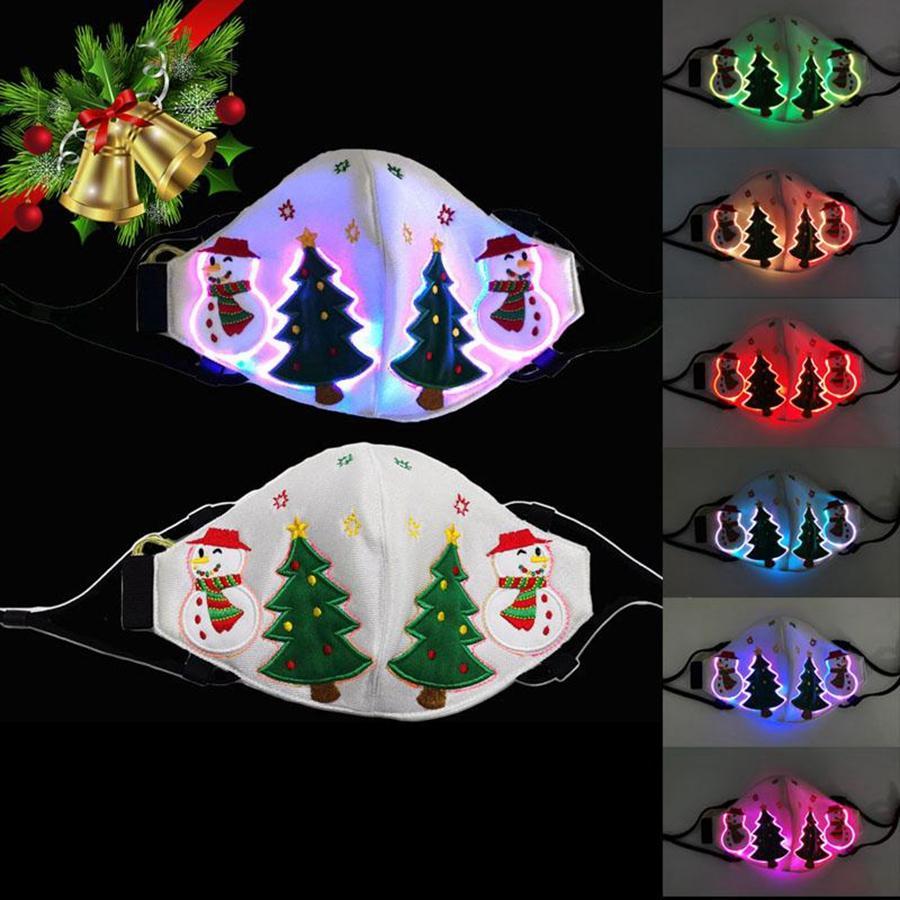 Máscara de navidad que brilla intensamente luminoso LED Mascarillas colorida máscara de visualización Partido Hombres Mujeres Decoración de Navidad regalo del festival DDA614