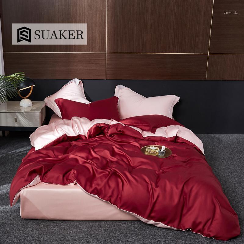 Suaker lusso rosso rosa 100% seta biancheria da letto di seta set natura seta bellezza salute trapunta copertura regina re flat flat foglio foglio foglio foglio federa1
