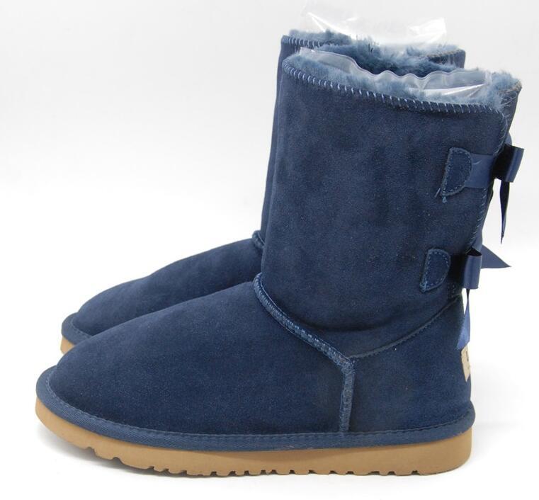 Libero di trasporto scherza Bailey 2 Archi Stivali bambini del cuoio genuino di Snow Boots Solid Botas de Nieve ragazze di inverno Calzature ragazze del bambino Stivali 11