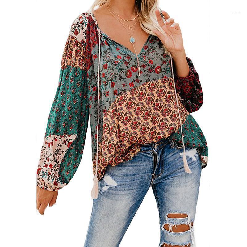 2020 frauen boho floral druck shirt frühling herbst dünne langarm v-ausschnitt lose lässig vintage plus größe shirts strand weibliche tops1