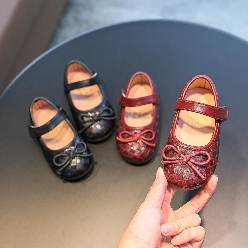 Девушки кожаные туфли мода лук повседневная одиночная обувь дети девушки принцессы сандалии партии девушки одеваются обувь