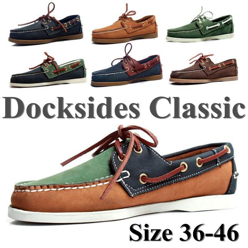 Genuínos homens de couro sapatos Docksides clássico Homme Femme de barco, além de tamanho Navy Blue Black Brown Flats Loafers Mulheres A053 201008