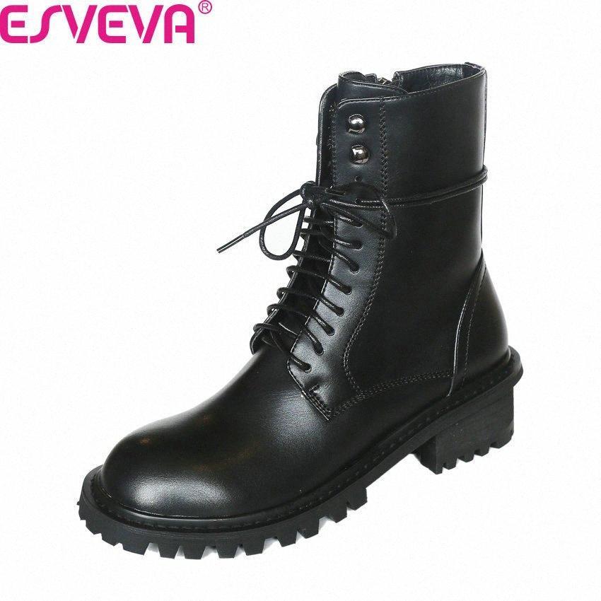 ESVEVA 2020 Lace Up Zipper de couro de vaca PU antiderrapante Mulheres sapatos Toe Rodada Outono-Inverno Praça Heel Casual Botas Tamanho 34 39 Ariat Cs84 #