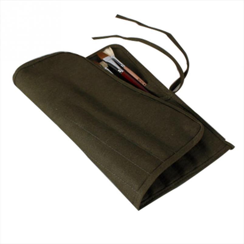 Exército Verde Canvas Escovas Bag for Oil acrílica Pintura em Aquarela longo punho de madeira Bolsa escova de armazenamento Pinte artigos de papelaria