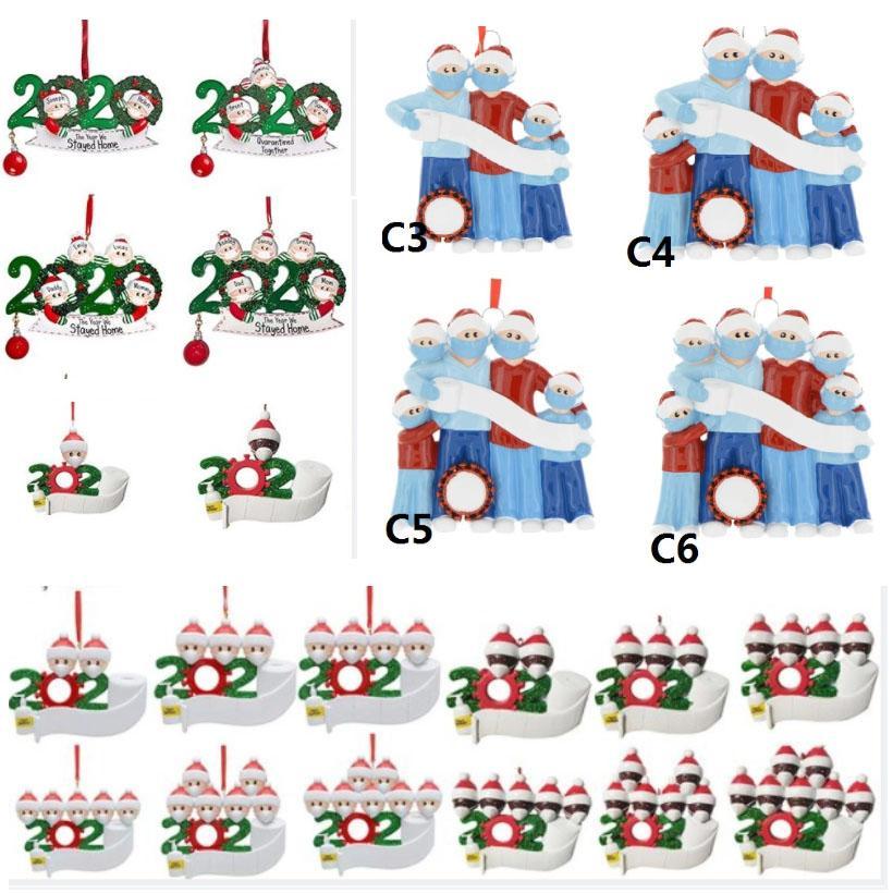 2020 Harz Ornamente Weihnachtsbaum Anhänger DIY Name Familie von Hang Dekorationen Schneemann-Anhänger mit Gesichtsmaske PVC-Kunststoff HH9-3367